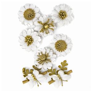 3D Papierové kvety biele / 8 dielna sada