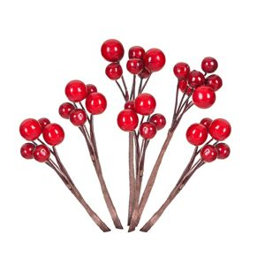 Ozdobná vetvička s červenými bobuľami - 6 ks