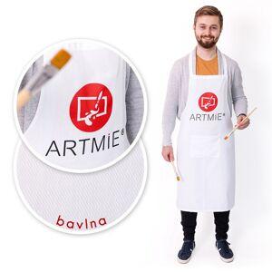 Bavlnená zástera s logom ARTMIE - biela