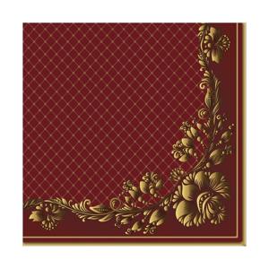 Eko servítky na dekupáž Gold Frame and Net on Crimson - 1ks