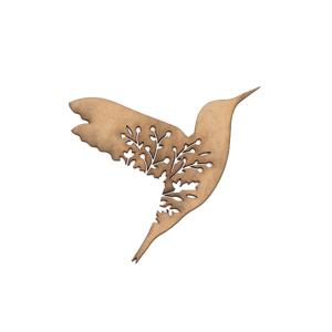 MDF výrez - kolibrík s kvetmi