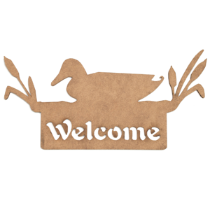 MDF výrez - nápis Welcome s kačkou