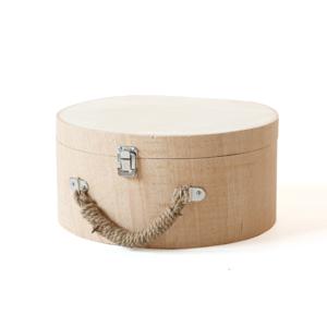 Okrúhly kufrík z drevotriesky na dotvorenie