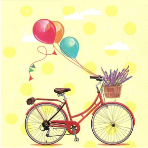 Servítky na dekupáž Bicycle with Balloons - 1 ks