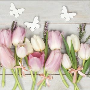 Servítky na dekupáž White & Pink Tulips on Wood - 1 ks