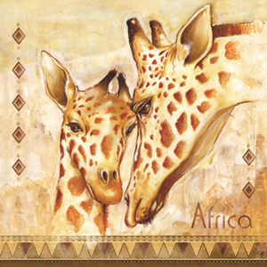 Servítky na DEKUPÁŽ - Žirafa s mláďatkom- 1ks