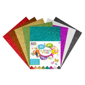 Trblietavý farebný papier A4 - sada 8 ks